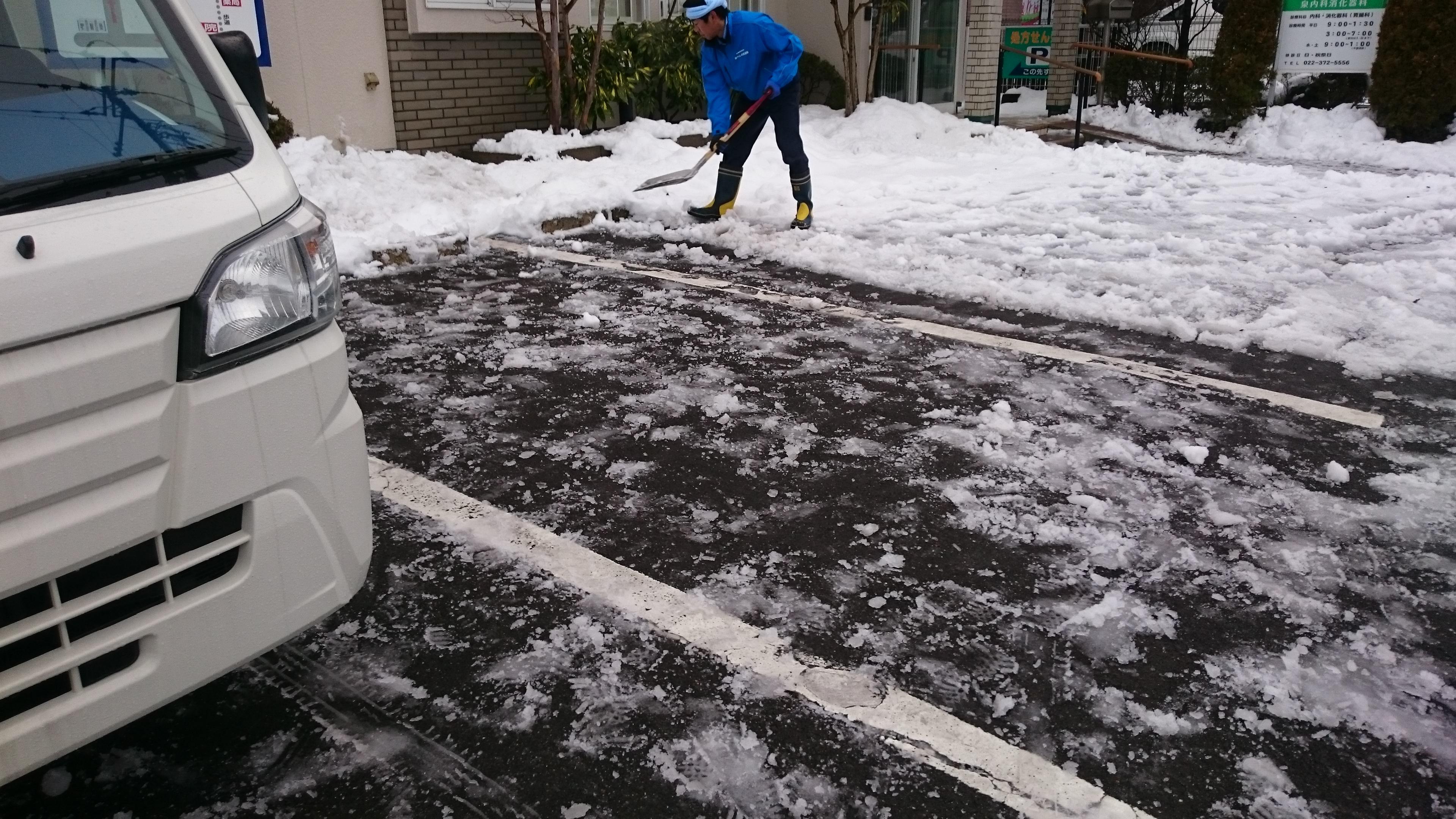 容赦なくスコップで雪を除いてゆく