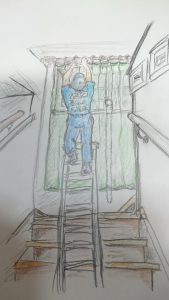 階段のカーテン